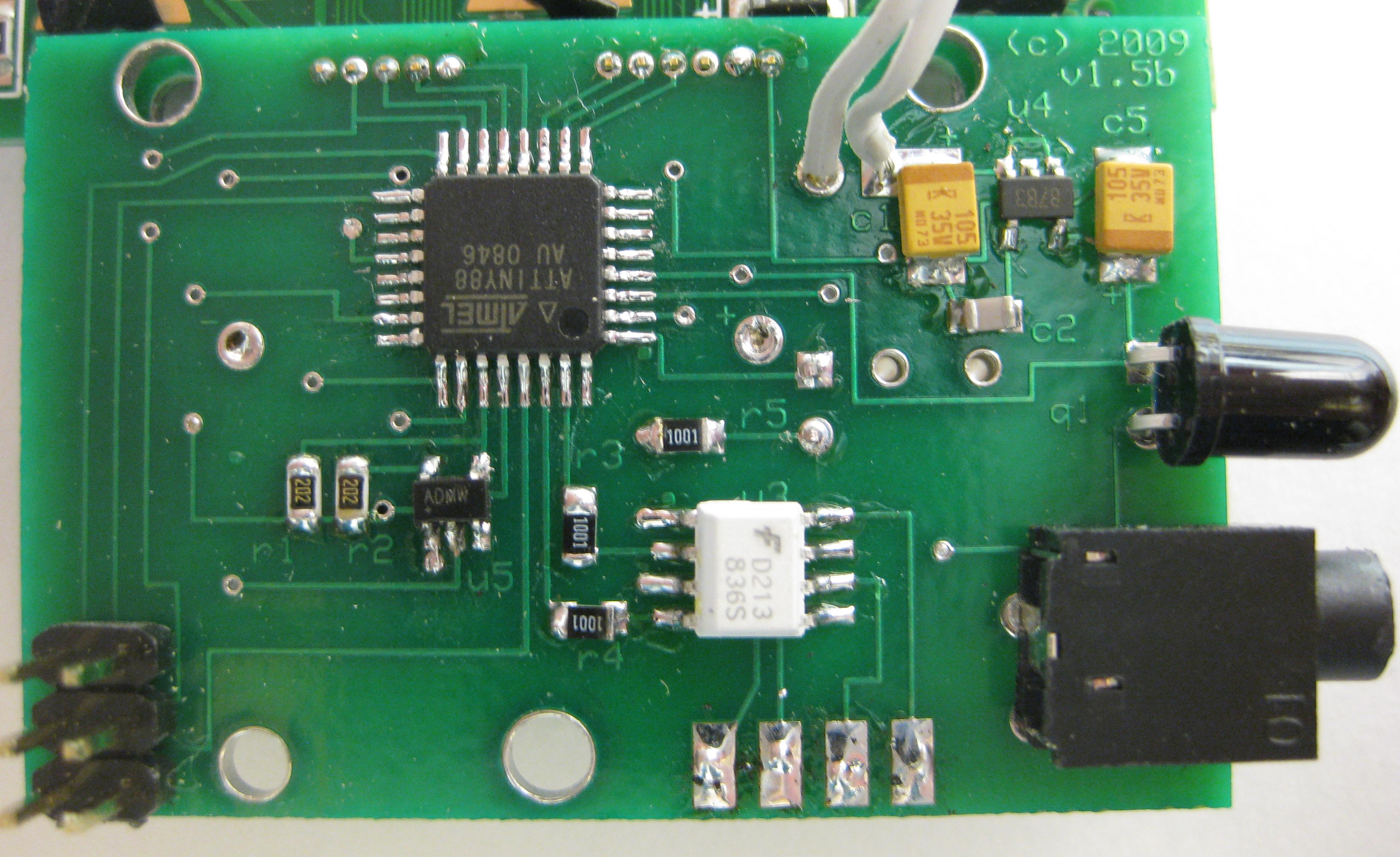 Picture of Solder Parts on the Back of the Board