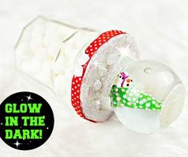 DIY Snow Globe Jar   Glow in the dark! Recycled jars