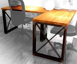 Industrial Steel Frame & Butcherblock Wood Desk