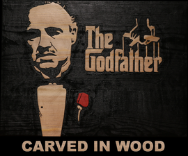 The Godfather Movie Poster Carved in Wood