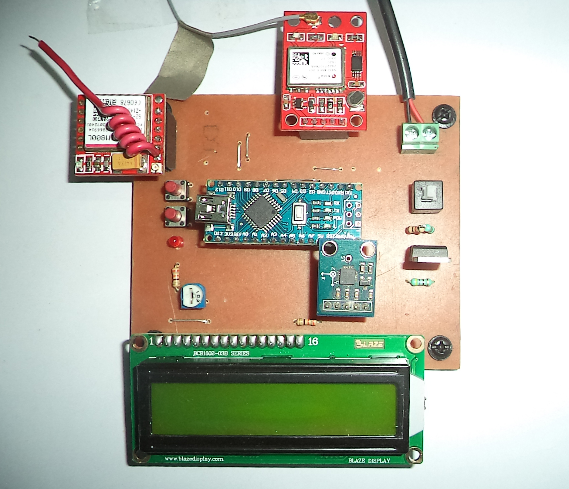 Picture of Accident Alert System Using GSM, GPS and Accelerometer