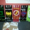 Super hero graveyard tombstones