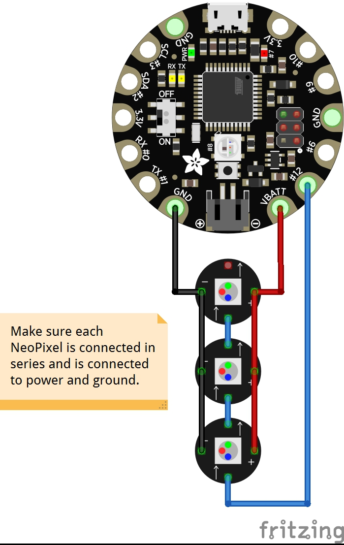 Picture of Connect the NeoPixels to the Flora