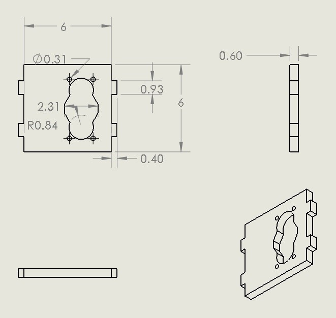 Picture of Technical Drawings for 3D Printing:  (all Dimensions in Cm)