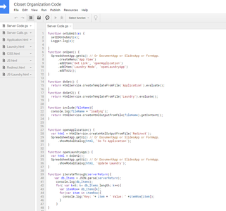 Google Scripts: (Server Code.gs) First Look at the Data and Code