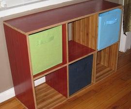 Cubicle bookshelf made from left over flooring