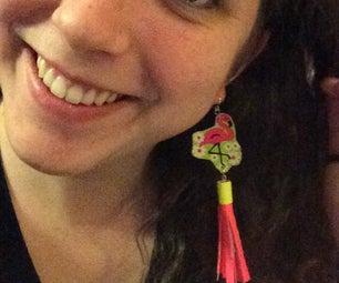 Duct Tape Flamingo Jewelry Set