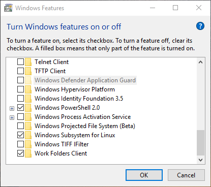 Picture of Enable the Feature in Windows