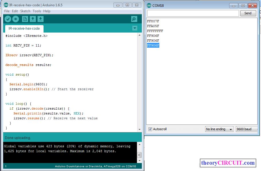 Picture of Receiving IR Hex Code