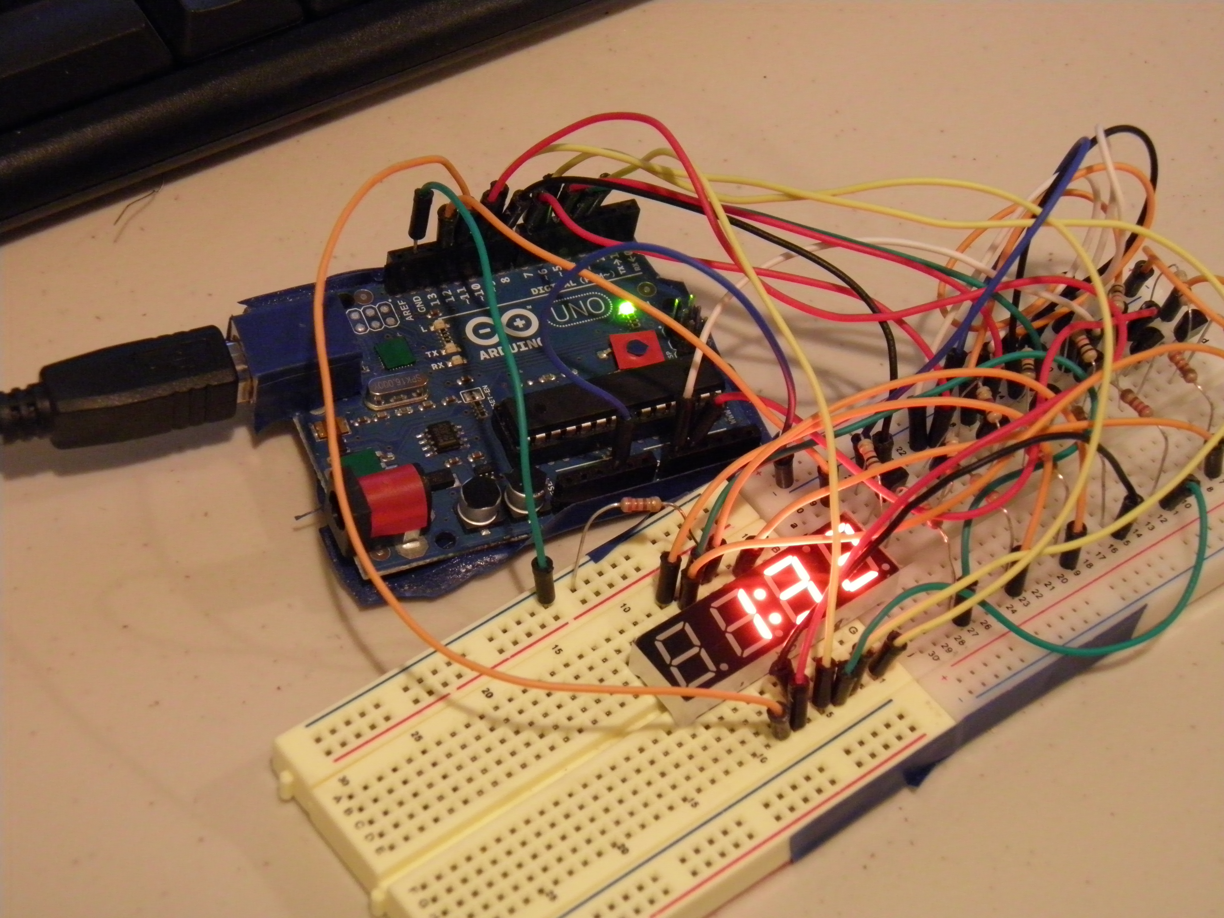 Picture of TimeDuino- 7 Segment Arduino Clock (No Shift Registers Needed!)