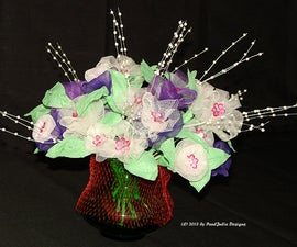 A Bouquet of Flowers Made From Garlic Mesh Bags
