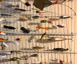Organizing Fish Lures for Sale With Closet Wire Shelving Cable Tied Together