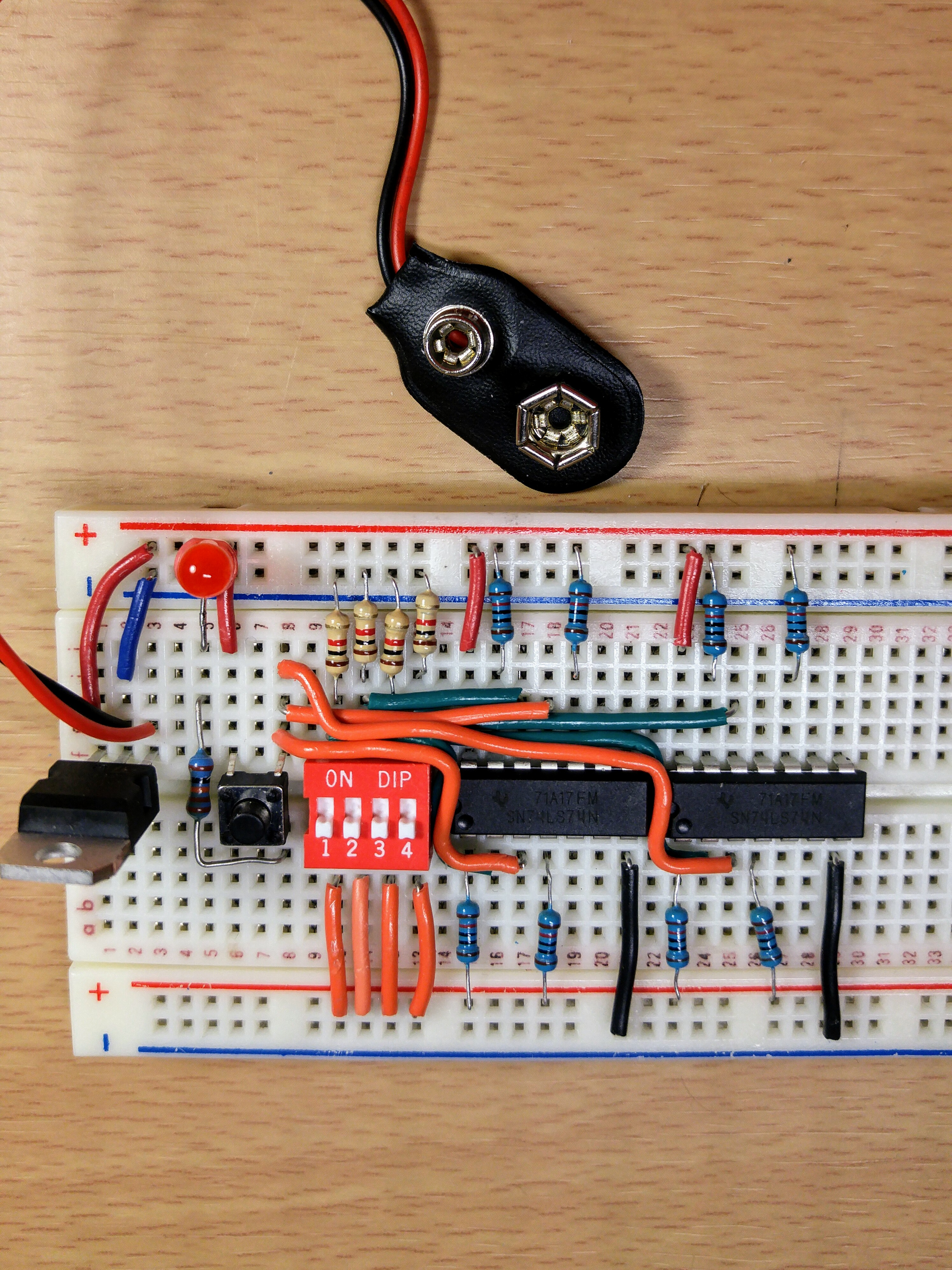 Picture of Hook Up the D Flip-Flops to the DIP Switch and Tack Switch