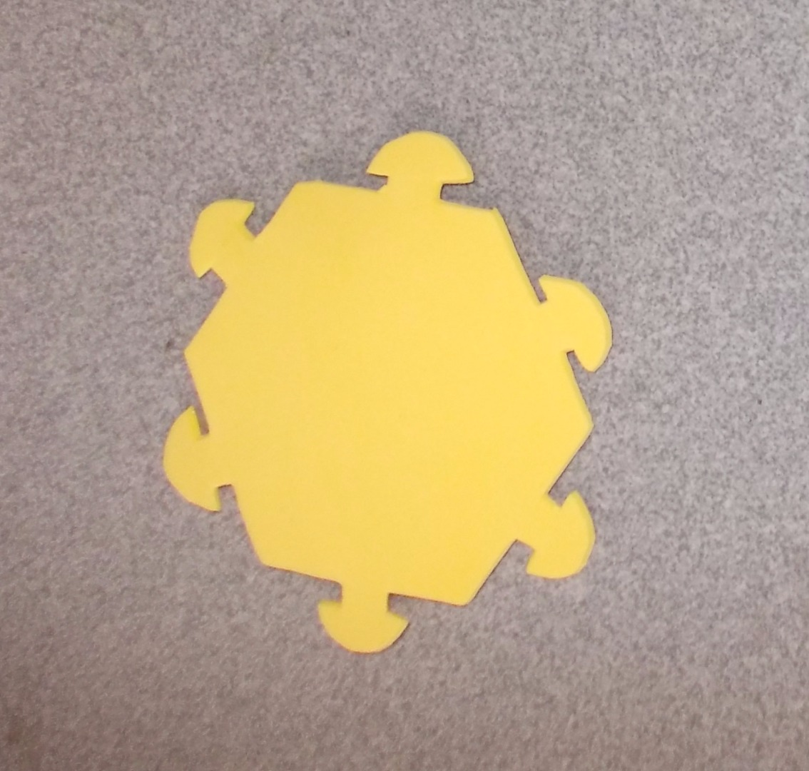 Picture of Cut the Hexagon on the Foam for the Bottom of the Lantern.