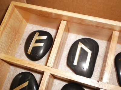 Engraved Stone Rune Set and Decorated Storage Box