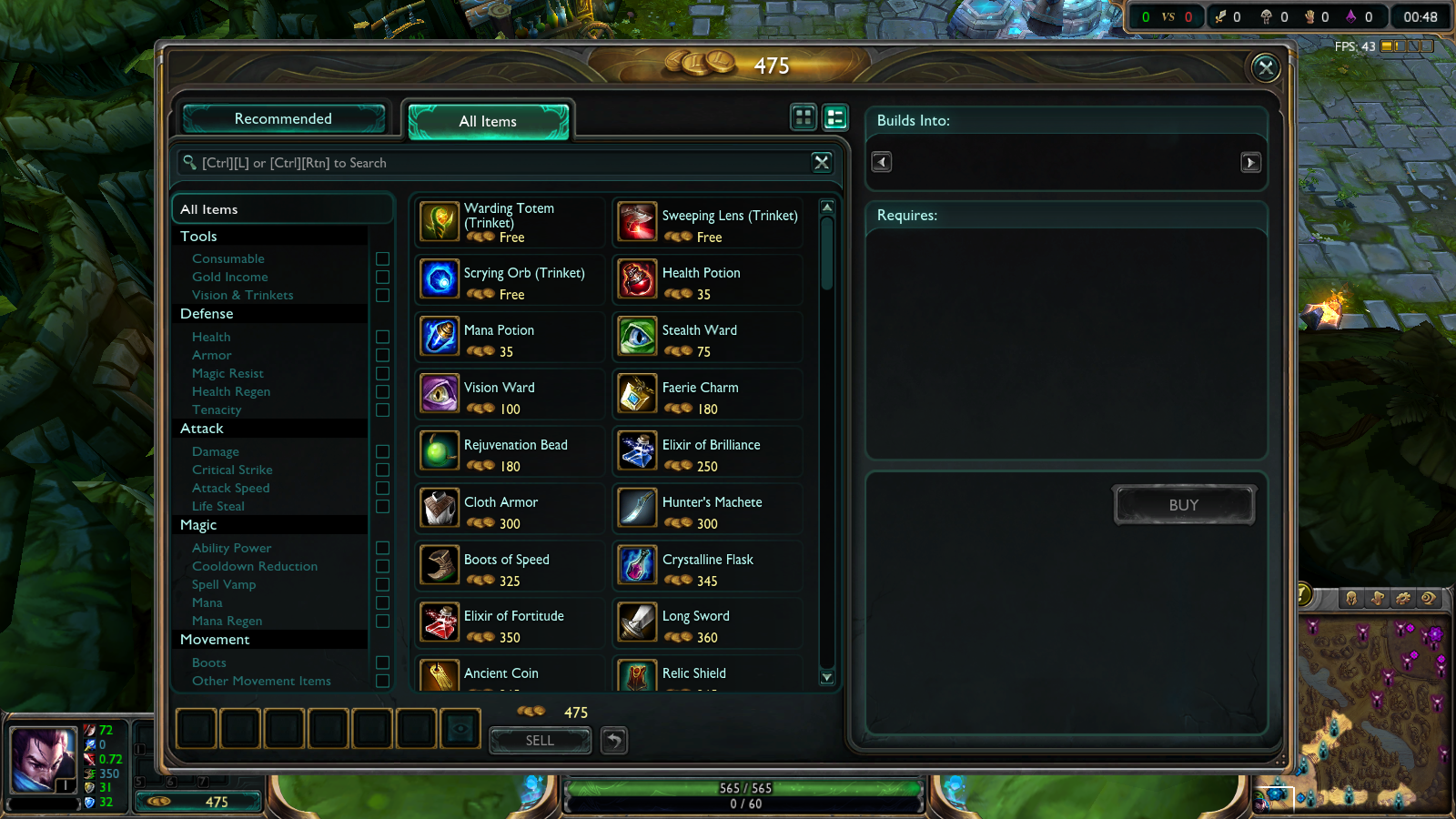 Picture of Buying Wards From the Shop Part 2