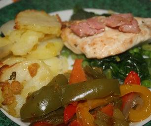 Golden Chicken, Braised Greens and Potato Gratin