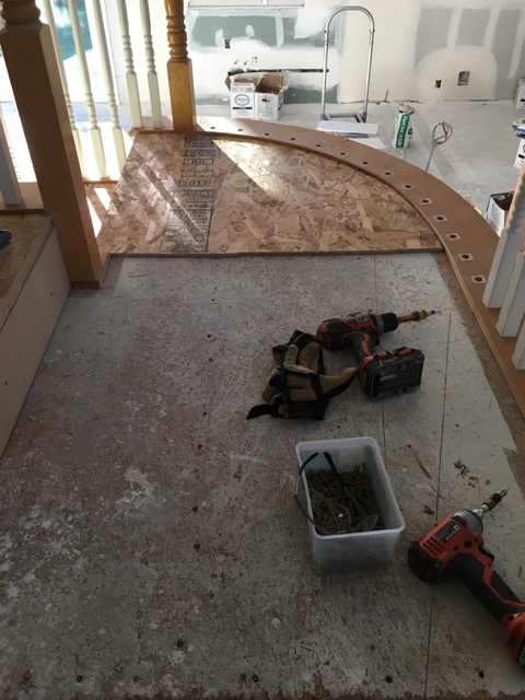"Picture of Adding the 1/2"" Chipboard / OSB to All the Treads and Landings"
