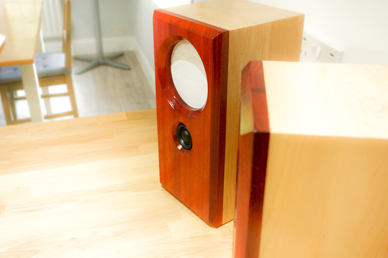 Picture of Making Solid Padauk and Maple Bookshelf Speakers
