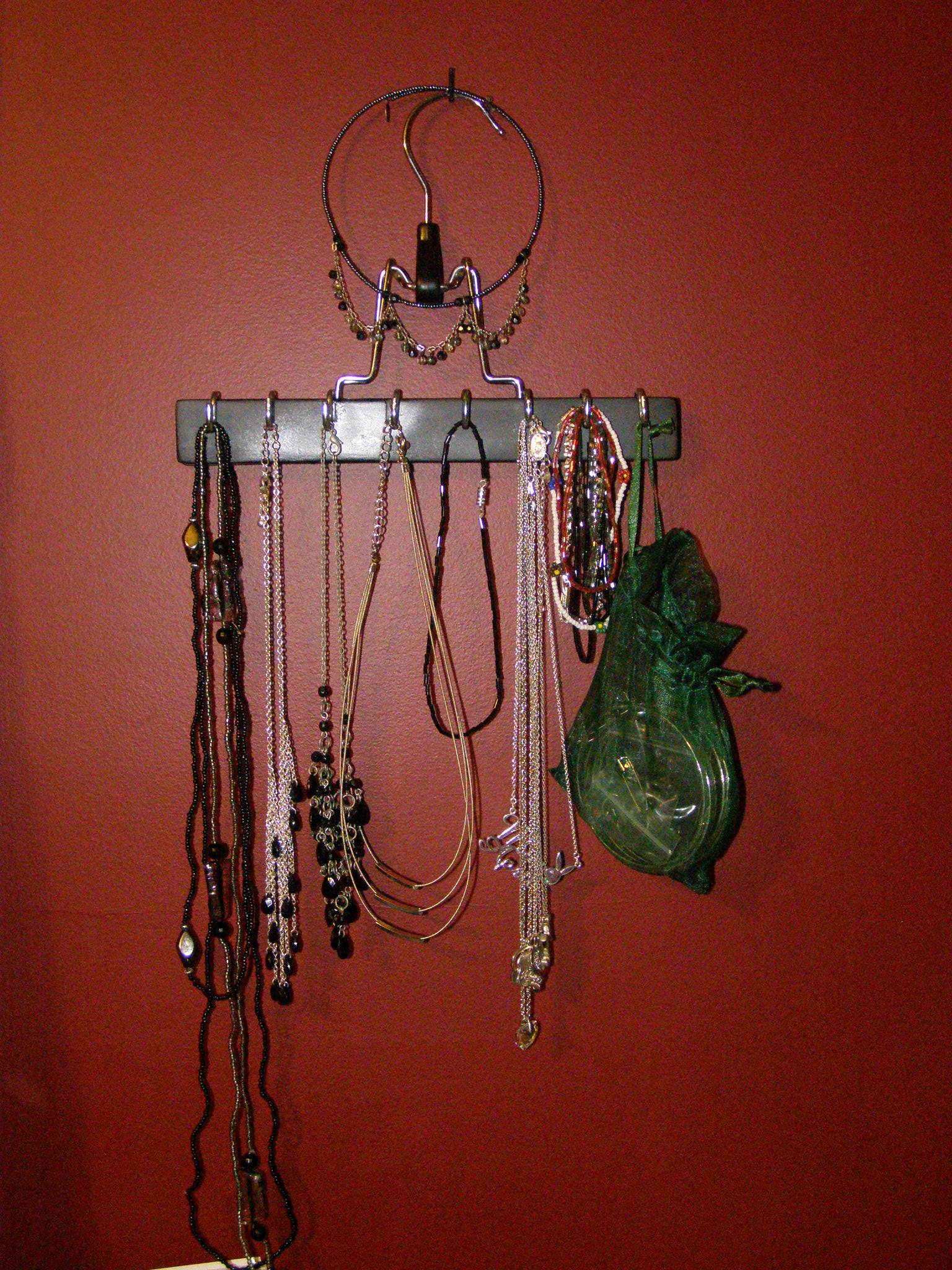 Picture of Necklace Hanger From an Old Pants Hanger