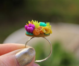Mini Coral Reef Ring - Polymer Clay