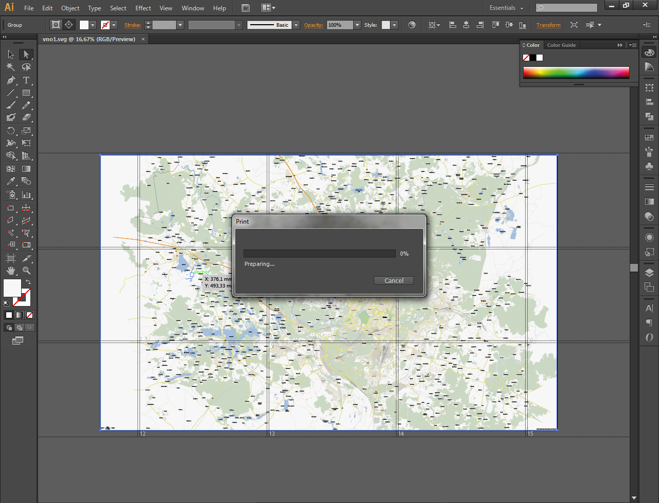 Picture of Tiling a Big Map to Print on Several Pages
