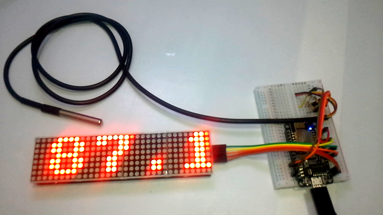Picture of  Matrix Led X4 MAX7219  + ESP8266 12E + Sensor  DS18b20 (Temperature)