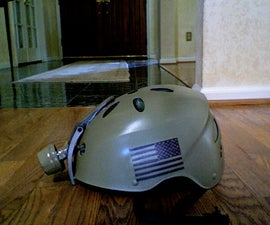Special forces helmet from an old flashlight and an old bike helmet.