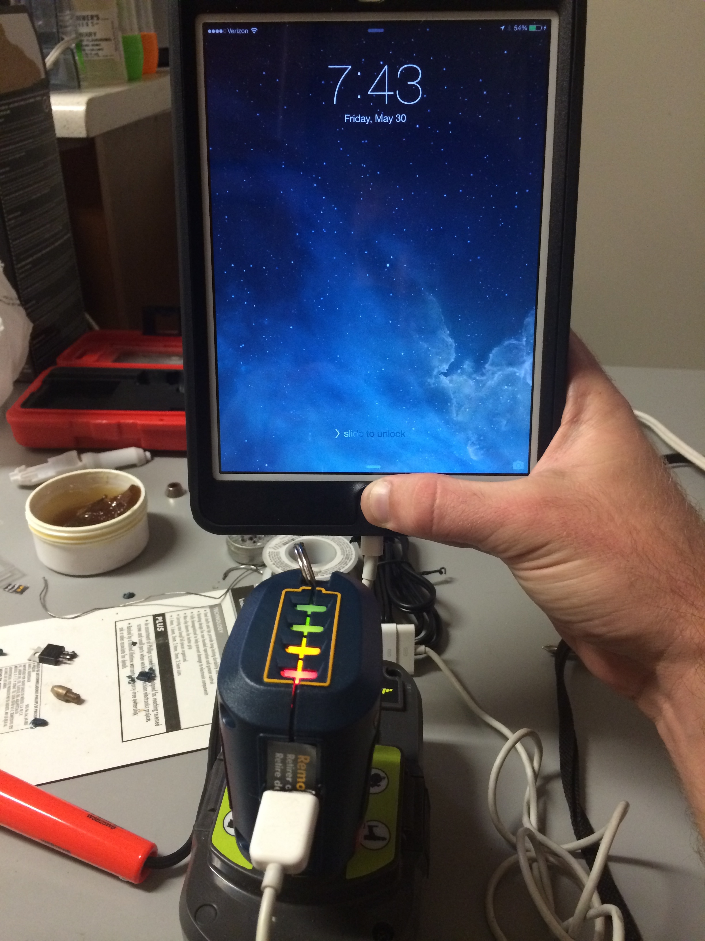 Picture of Hack 2 Devices for a Cheap Portable USB Charger and Ryobi Battery Charge Indicator