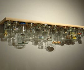 Shelving project to save space. Jam jar shelf