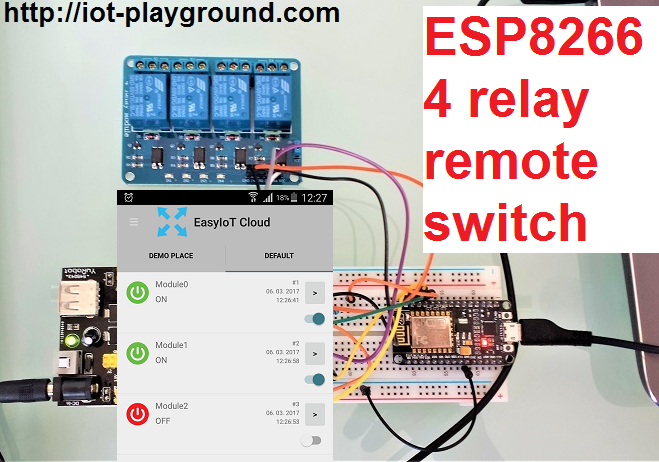 Picture of ESP8266 Controlling 4 Relays