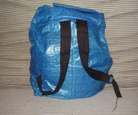 Recycled ikea-bag backpack
