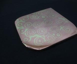 Copper and Brass Raindrop Mokume Gane