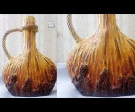 DIY Cardboard Bottle || Vase (wooden Style) || Cement Vase