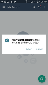 CamScanner Camera Permissions