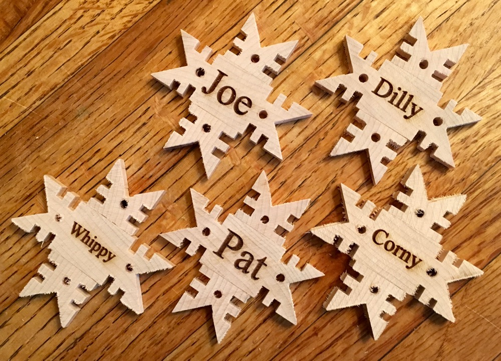 Picture of Wooden Snowflake and Star Ornaments