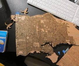 Laser cut wooden maps with public data