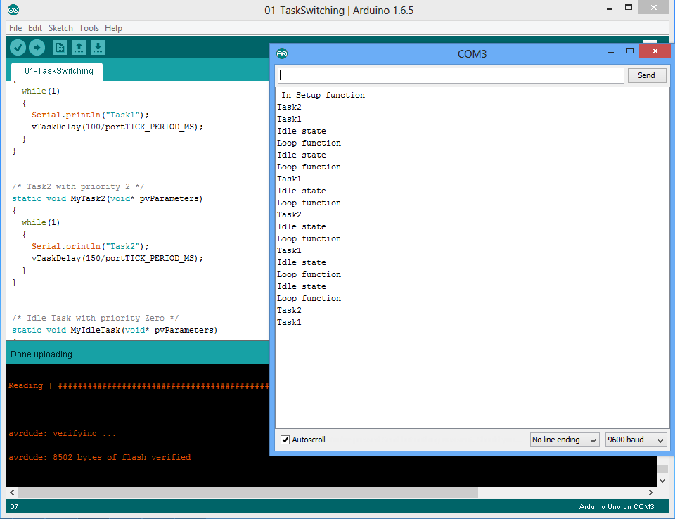 Picture of Output on Serial Terminal :