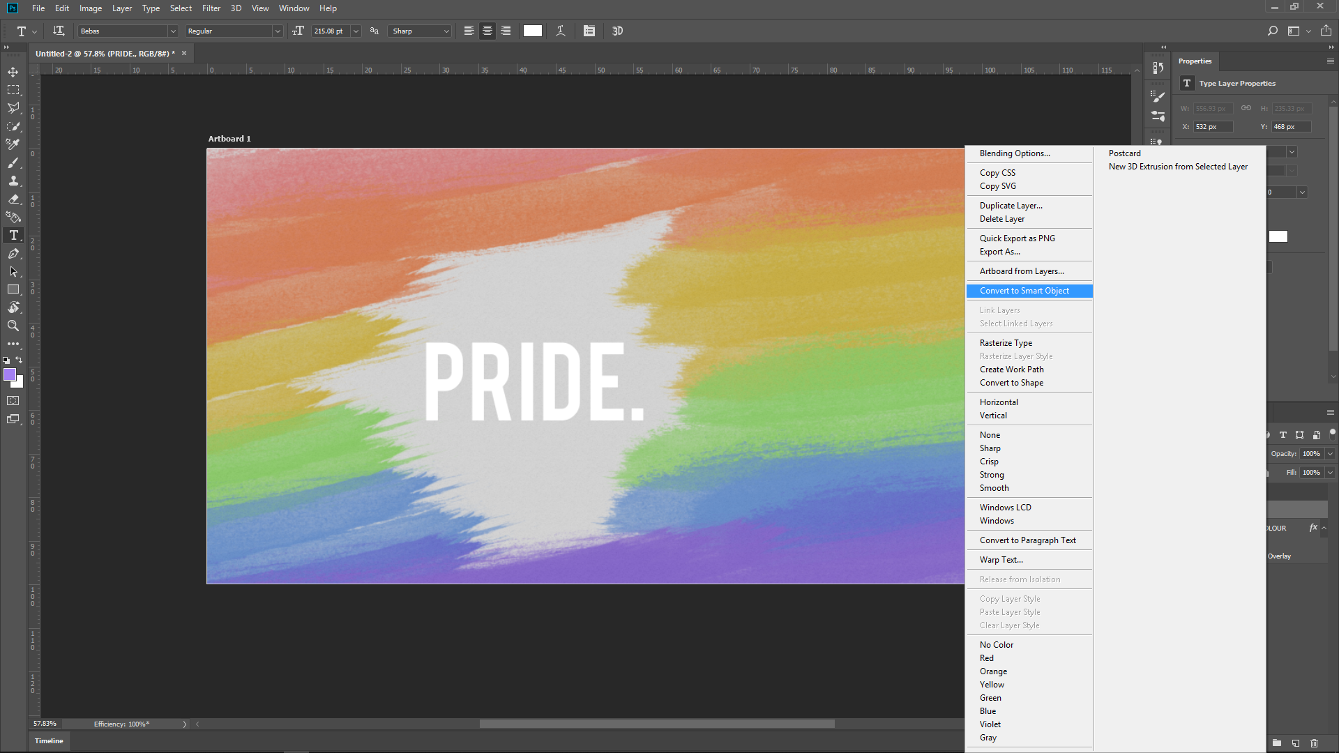 "Picture of Adding the ""Pride."" Text Layer"