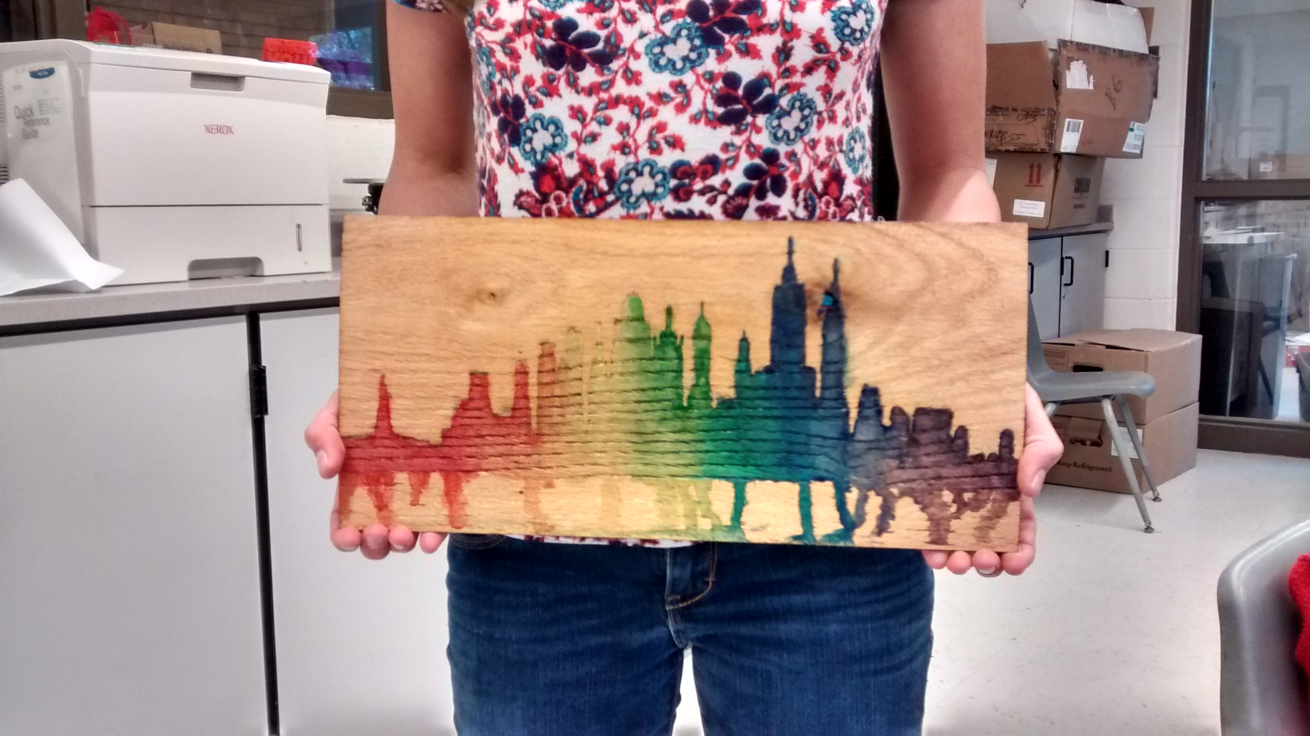 Picture of Rainbow Wooden Water Color Skyline Wall Art