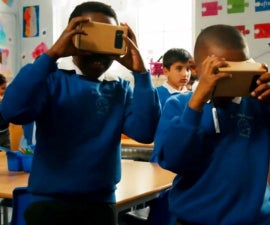 Wooden Google cardboard used in history class
