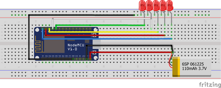 Making the Circuit for the Portable NodeMCU POV Display