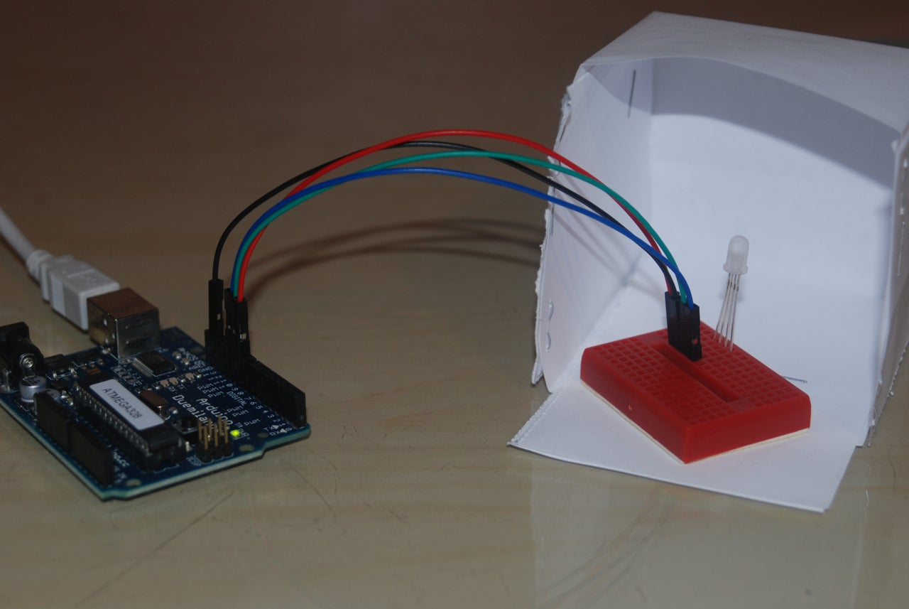 Controlling An Rgb Led With Arduino And Processing 4 Steps Tricolorledcircuitjpg