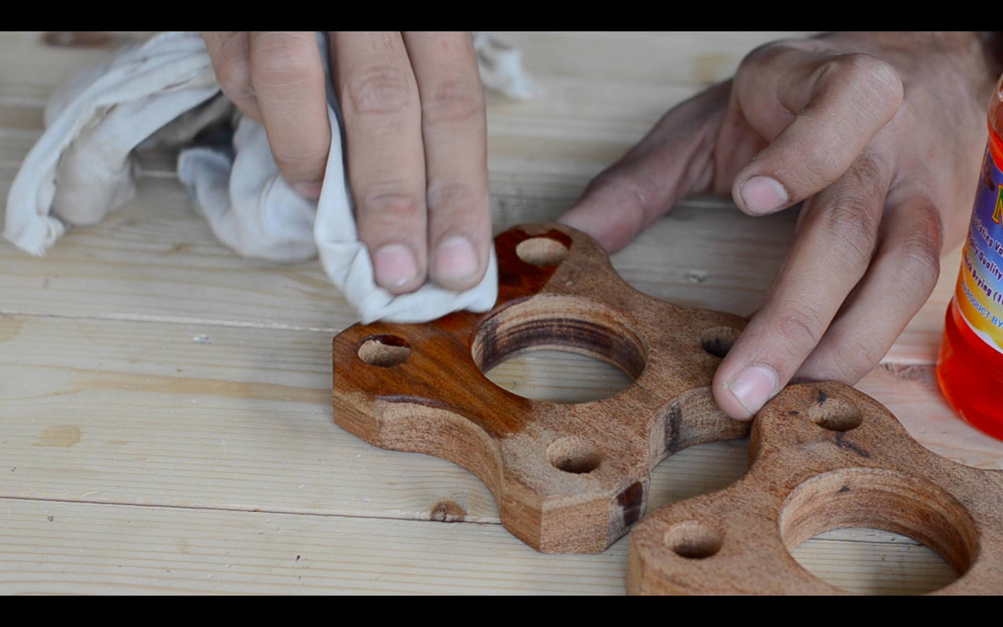 Picture of Polishing the Wooden Blocks