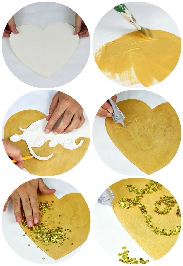 Picture of Here's How to Make the GOLD SEQUIN LOVE PILLOW