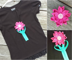 Zipper Rosette Decorated T-shirt With Detachable Brooch