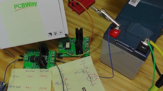 في المختبر:: 79-  قيادة الترانزستور باستخدام (HCPL3120  ) في (Low & High Side) مع PCBWay