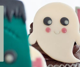 Kawaii Halloween Cupcake Toppers created with Modelling Chocolate