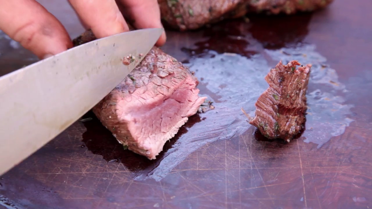Picture of Slice the Fillets Before Serving on a Bed of Sweet Potato Mash With Beans.