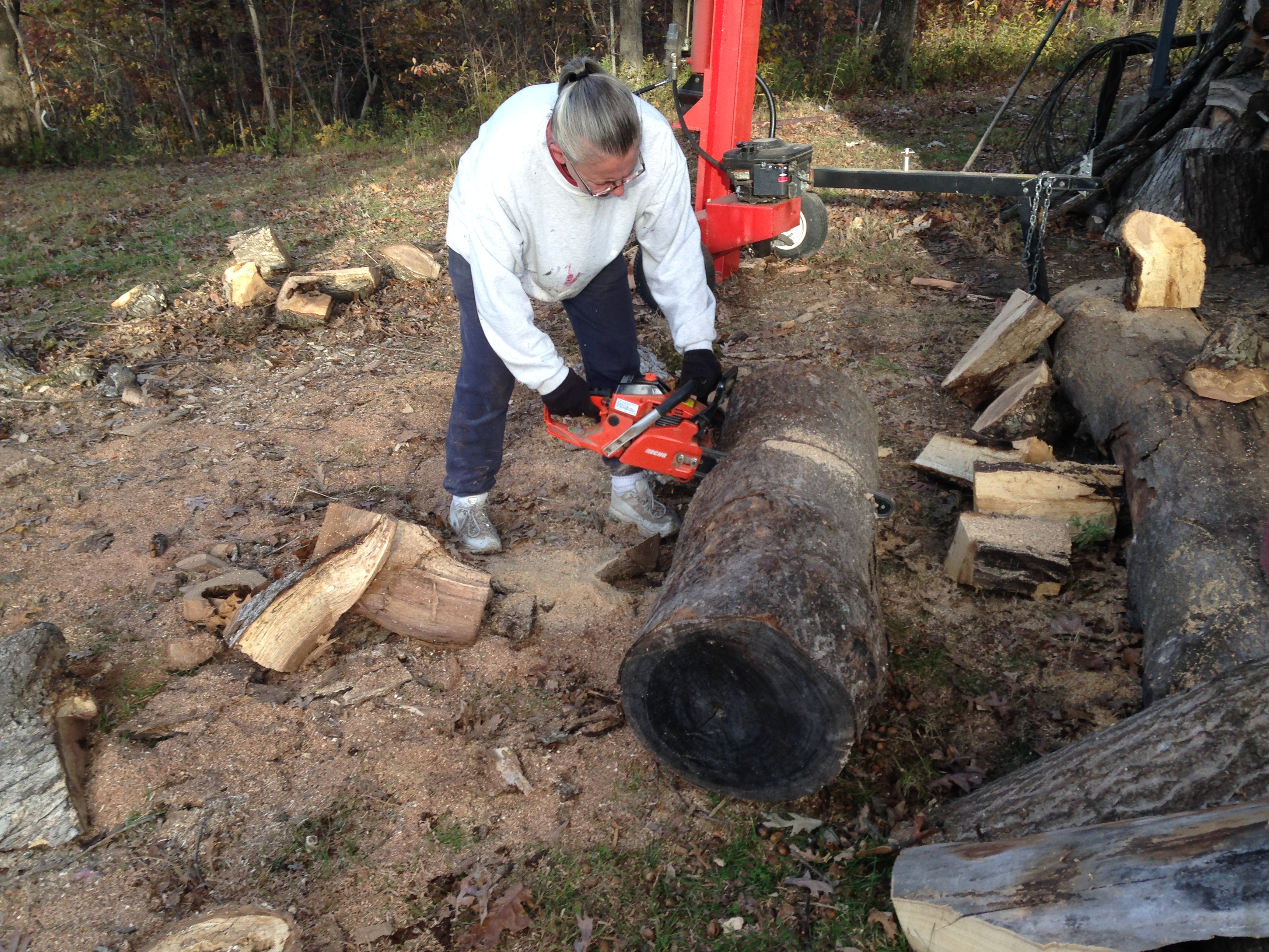 Picture of Cutting the Hunk of Wood